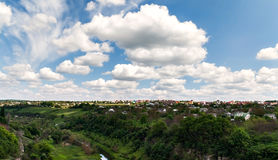 Canyon of the river and houses under cloudy sky in Kamenetz Podo Royalty Free Stock Photography