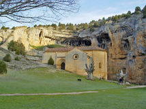 The canyon of river Lobos. Chapel of the Templars in the canyon of river Lobos Stock Photos