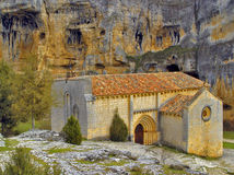 The canyon of the river Lobos, Soria, Spain. Chapel of the Templars in the canyon of the river Lobos Royalty Free Stock Image