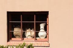 Canyon Road fönster i Santa Fe arkivbild