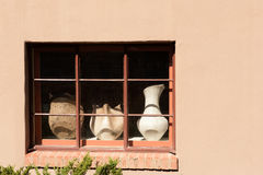 Canyon Road Fenster in Santa Fe Stockfotografie