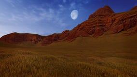Canyon rocks under half moon Royalty Free Stock Images