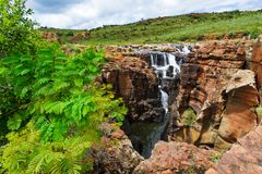 Canyon scenery with waterfall, Bourkes Luck Potholes, South Africa. The Motlatse Canyon Provincial Nature Reserve stock photos