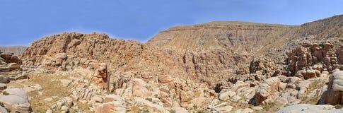Canyon of Selah. Biblical Selah in the desert of Jordan royalty free stock image