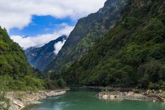 Canyon in SiChuan. The clear river flow in the canyon of SiChuan Province ,the place where the giant panda lives Stock Images