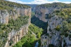 Canyon spagnolo famoso Foz de Arbayun Fotografia Stock