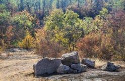 A canyon stones. View of big stones at Arbuzinskiy Canyon, Nikolaev region, Ukraine Royalty Free Stock Images