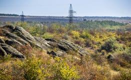 A canyon stones. Wide view of Aktovskiy Canyon, Nikolaev region, Ukraine Royalty Free Stock Photos