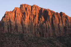 Canyon Sunrise. Canyon walls lit up at sunrise, in Zion National Park in southwestern Utah stock photography