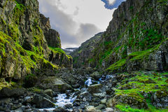 Canyon sur les fjords est de l'Islande Photo stock