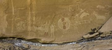 Canyon Ute Rock Art Panel de Sego images stock