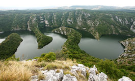 Canyon on Uvac lake  in Serbia Stock Photography