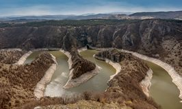 Canyon of Uvac river with meanders at  Nature reserve Uvac, Serbia.  stock photo