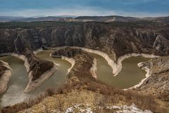 Canyon of Uvac river with meanders at  Nature reserve Uvac, Serbia.  royalty free stock images