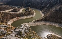 Canyon of Uvac river with meanders at  Nature reserve Uvac, Serbia.  stock photos