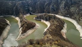 Canyon of Uvac river with meanders at  Nature reserve Uvac, Serbia.  royalty free stock photo