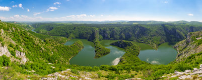 Canyon of Uvac river, Serbia Royalty Free Stock Photo