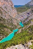 Canyon of Verdon with boats in Provence, France. The largest alpine canyon in Europe. Royalty Free Stock Images