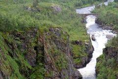 Canyon vicino alla cascata di Voringfossen, Norvegia Fotografie Stock Libere da Diritti