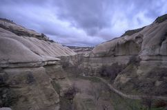 Canyon view at a cloudy evening at Cappadocia stock images