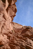 Canyon Wall Looking up at Blue Sky and Clouds Royalty Free Stock Photography