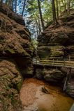 A Canyon in Wisconsin Dells. A view of a secluded canyon located in the Wisconsin Dells stock photos
