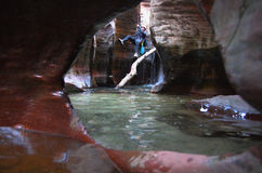 Canyoneering in Utah Stock Afbeelding