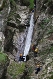 Canyoning in Susec creek , Slovenia Royalty Free Stock Image