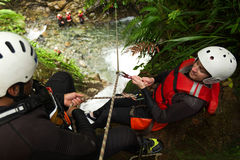 Canyoning Adventure Teamwork Royalty Free Stock Images