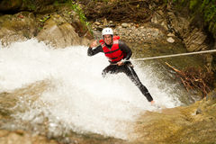 Canyoning Adventure Waterfall Descent Stock Photos