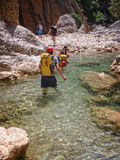 Canyoning in Barranco Oscuros, Sierra de Guara, Spain Royalty Free Stock Photos