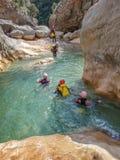 Canyoning in Barranco Oscuros, Sierra de Guara, Spain Stock Photos