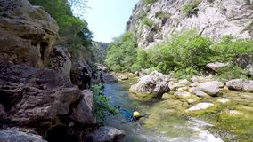 Canyoning on Cetina river in Croatia stock footage