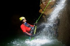 Canyoning in Spain. Canyoning in Fago Canyon, Pyrenees, Huesca Province, Aragon in Spain stock image