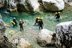 Canyoning. In the Gorges de Verdon stock photo