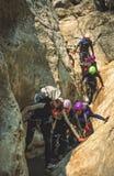 Canyoning i sydliga Frankrike Arkivbilder