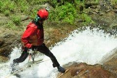 Canyoning Instructor Chamana Waterfall Royalty Free Stock Photography