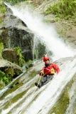Canyoning Instructor Chamana Waterfall Stock Photo