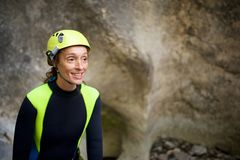 A portrait woman canyoning in Pyrenees, Spain. Royalty Free Stock Photography
