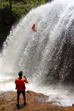 Canyoning massive waterfall decent Vietnam Royalty Free Stock Images