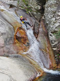 Canyoning in Purcaraccia River. Royalty Free Stock Photo