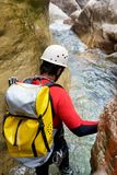 Canyoning in Spain. Canyoning in  Canyon, Tena Valley, Pyrenees, Huesca Province, Aragon, Spain Royalty Free Stock Photo
