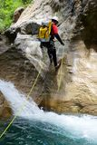 Canyoning in Spain. Canyoning in  Canyon, Tena Valley, Pyrenees, Huesca Province, Aragon, Spain Royalty Free Stock Photos