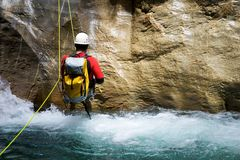 Canyoning in Spain. Canyoning in  Canyon, Tena Valley, Pyrenees, Huesca Province, Aragon, Spain Royalty Free Stock Image