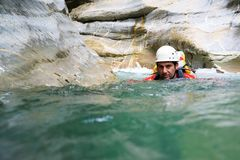 Canyoning in Spain. Canyoning in  Canyon, Tena Valley, Pyrenees, Huesca Province, Aragon, Spain Royalty Free Stock Images