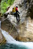 Canyoning in Spain. Canyoning in  Canyon, Tena Valley, Pyrenees, Huesca Province, Aragon, Spain Royalty Free Stock Photography