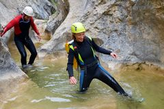 Canyoning in Spain. Canyoning in Carruaca Canyon, Guara Mountains, Huesca Province, Aragon, Spain Royalty Free Stock Images