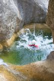 Canyoning in Spain. Canyoning in Carruaca Canyon, Guara Mountains, Huesca Province, Aragon, Spain Stock Photos
