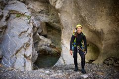 Canyoning in Spain. Canyoning in Lapazosa Canyon, Bujaruelo Valley, Pyrenees, Huesca Province, Aragon, Spain Royalty Free Stock Images