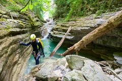Canyoning in Spain Stock Images
